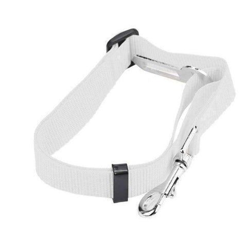 All For Hobbies White Dog Seat Belt