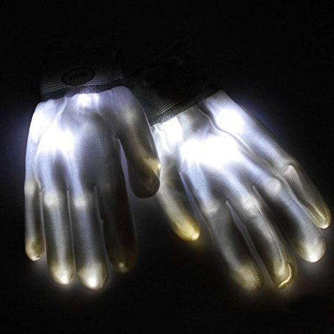 All For Hobbies White LED Skeleton Gloves