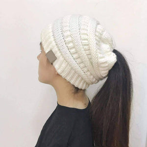All For Hobbies White Ponytail Beanie