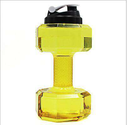 All For Hobbies Yellow 2.5L Dumbbell Water Bottle
