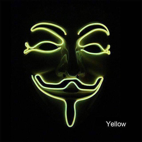 All For Hobbies Yellow Guy Fawkes Mask (Anonymous LED Mask)