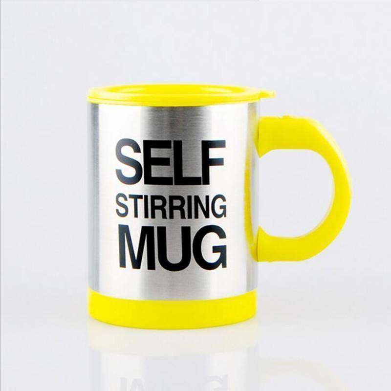 yellow self stirring travel mug