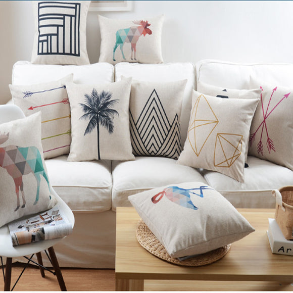 GeoGraphic Linen Pillows Cases