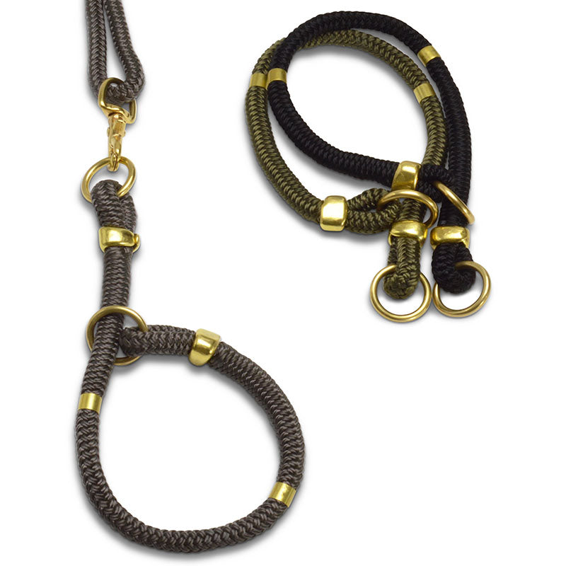 cool rope & brass modern dog collar | Sweet Beest