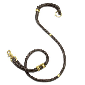 handcrafted grey nylon rope & brass modern dog leash | Sweet Beest