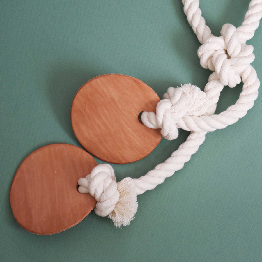 cotton rope & leather tug toy detail | Sweet Beest