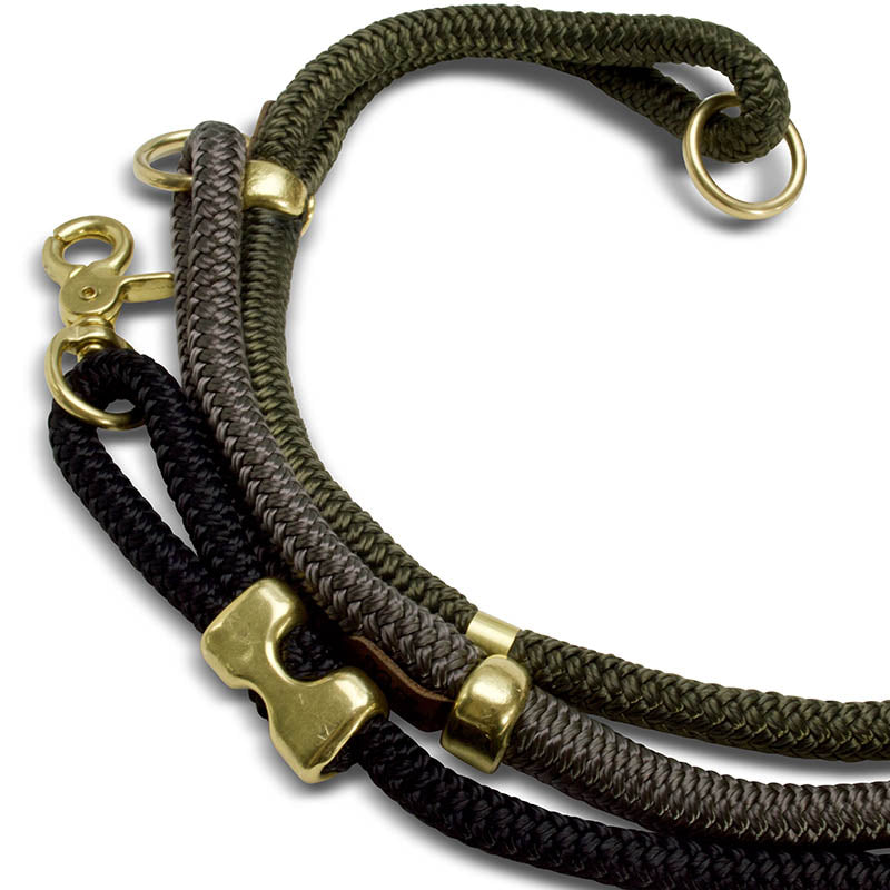 handcrafted nylon rope & brass modern dog leash | Sweet Beest