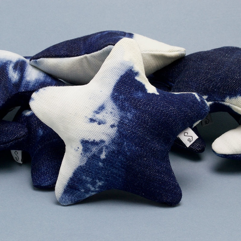 tie dye denim squeaky star dog toy | Sweet Beest