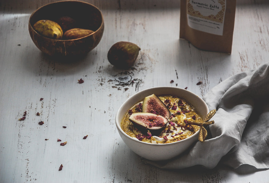 Turmeric Quinoa Porridge with Fig & Rose