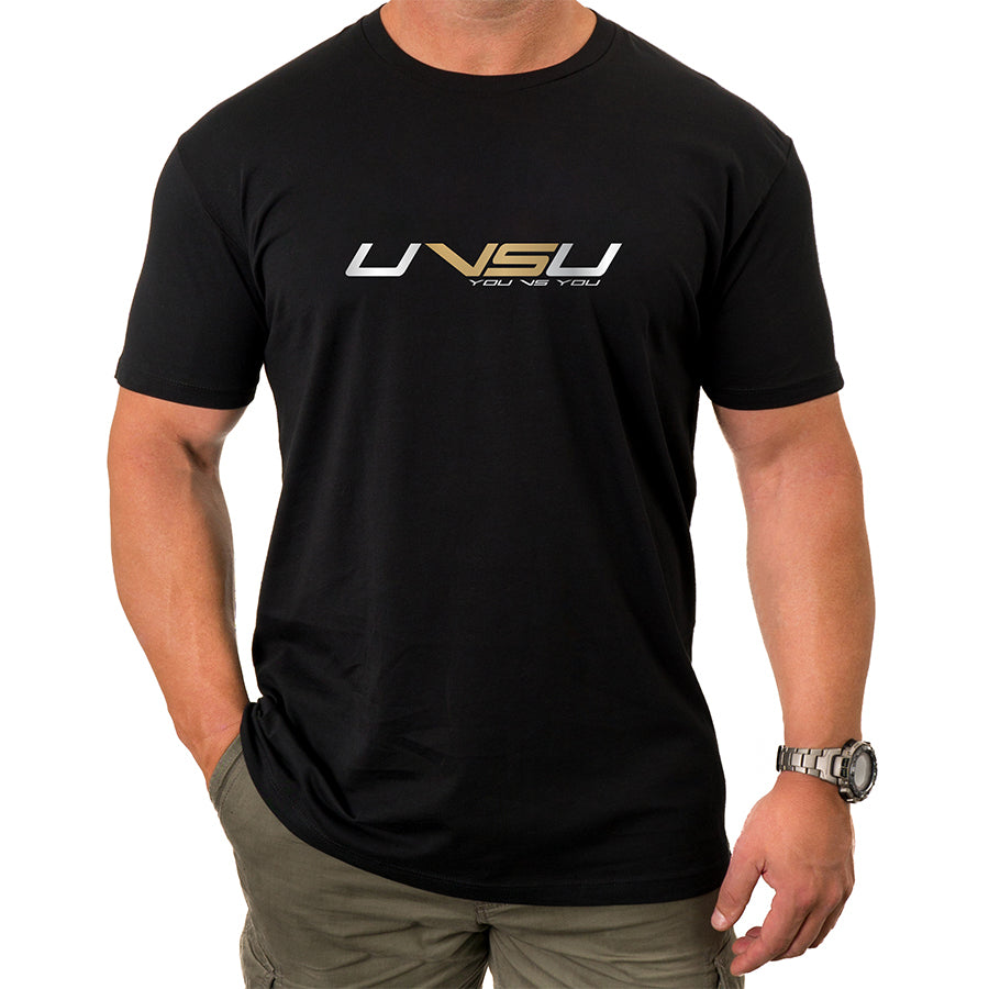 MEN'S EVERYDAY TEE - BLACK (SILVER & GOLD) - UVSU (YOU VS YOU)