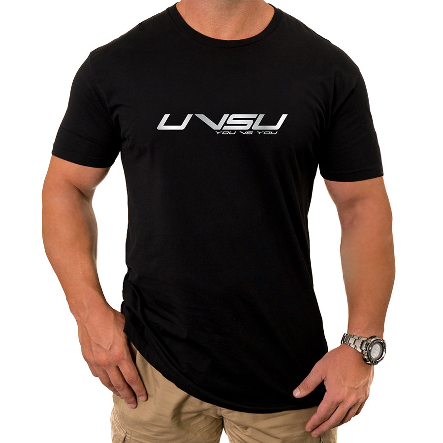 MEN'S EVERYDAY TEE - BLACK (SILVER) - UVSU (YOU VS YOU)