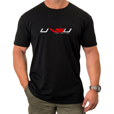 MEN'S EVERYDAY TEE - BLACK (SILVER & RED) - UVSU (YOU VS YOU)