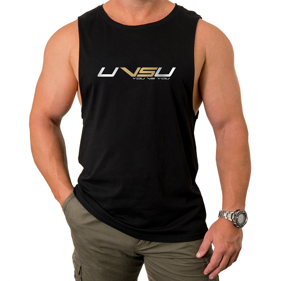 MEN'S MUSCLE TEE - BLACK (SILVER & GOLD) - UVSU (YOU VS YOU)