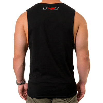 MEN'S MUSCLE TEE - BLACK (SILVER & RED)