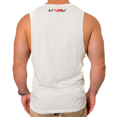 MEN'S MUSCLE TEE - WHITE (BLACK & RED) - UVSU (YOU VS YOU)