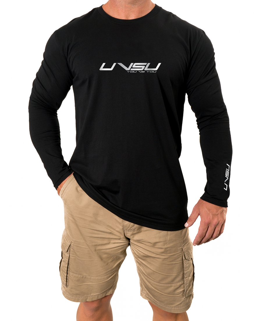 MEN'S PREMIUM LONGSLEEVE - BLACK (SILVER) - UVSU (YOU VS YOU)