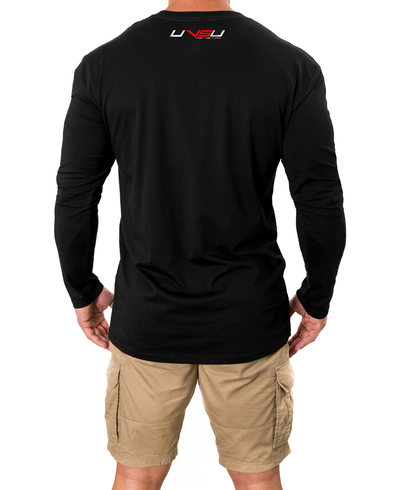 MEN'S PREMIUM LONGSLEEVE - BLACK (SILVER & RED) - UVSU (YOU VS YOU)