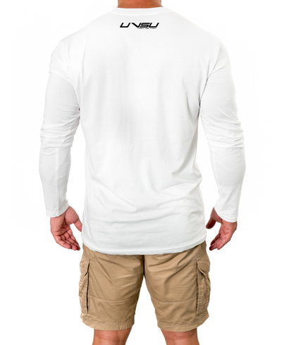 MEN'S PREMIUM LONGSLEEVE - WHITE (BLACK) - UVSU (YOU VS YOU)