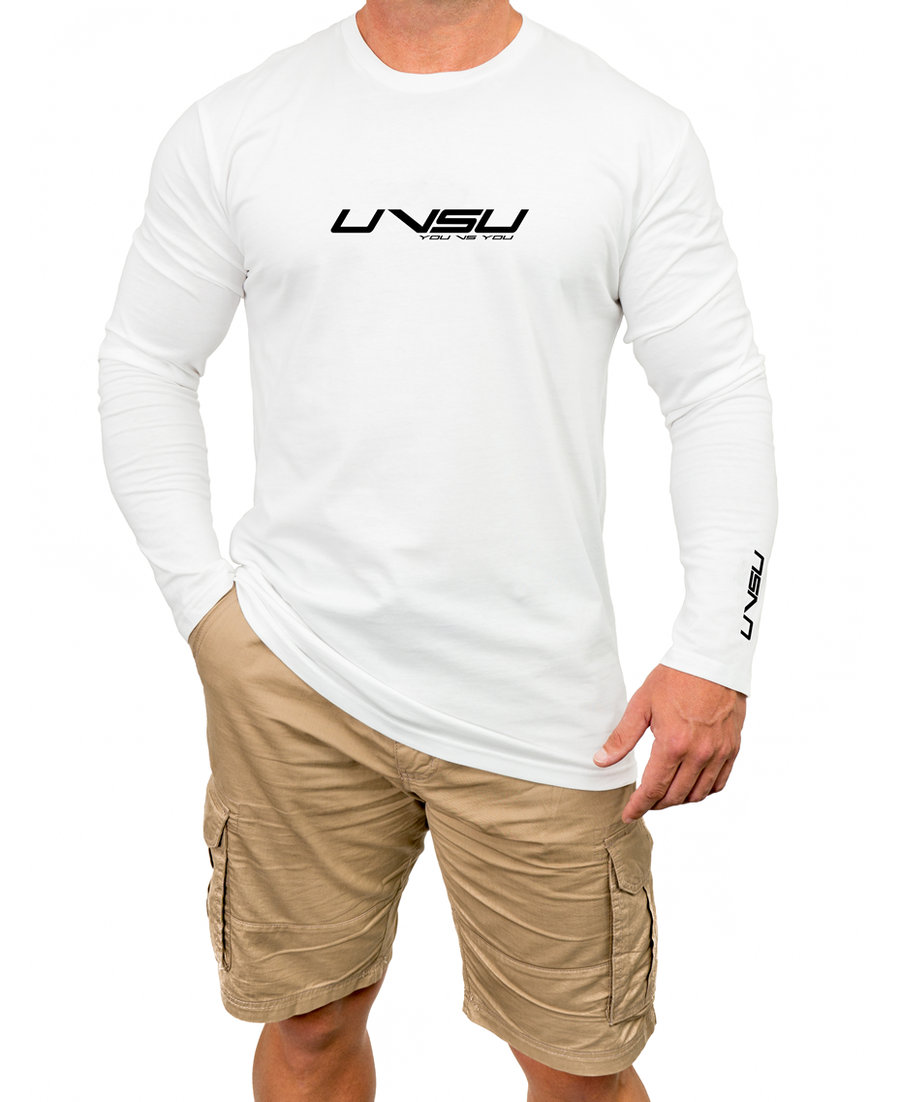MEN'S PREMIUM LONGSLEEVE - WHITE (BLACK)