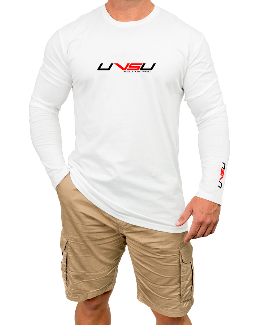 MEN'S PREMIUM LONGSLEEVE - WHITE (BLACK & RED)