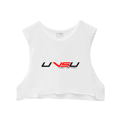 WOMEN'S MUSCLE CROP - WHITE (BLACK & RED) - UVSU (YOU VS YOU)