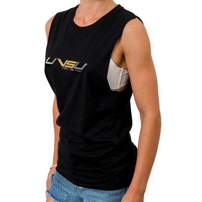 WOMEN'S MUSCLE TEE - BLACK (SILVER & GOLD) - UVSU (YOU VS YOU)
