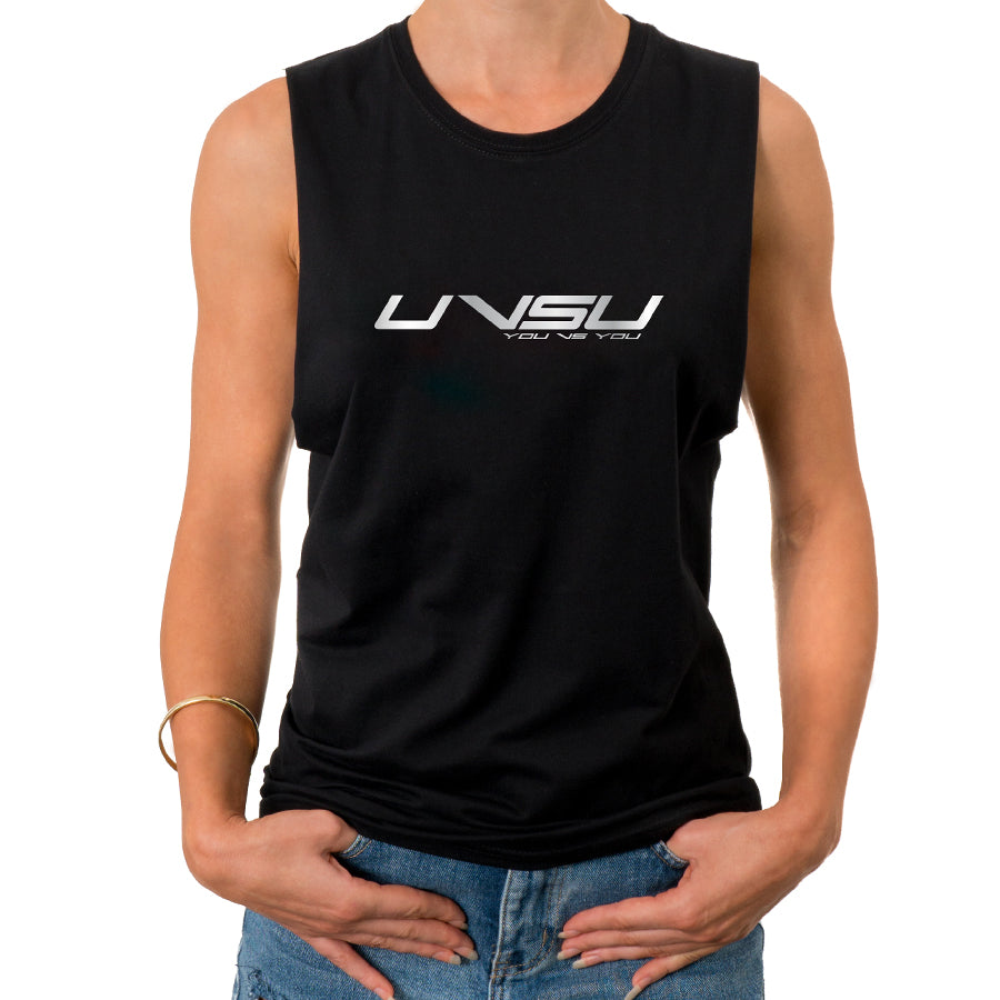 WOMEN'S MUSCLE TEE - BLACK (SILVER)