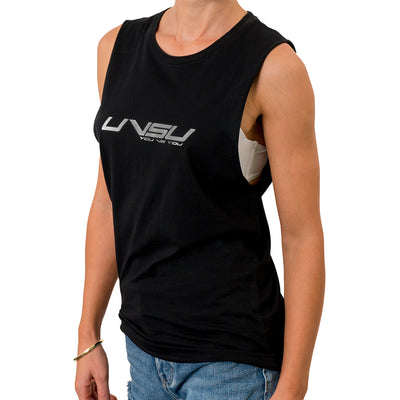 WOMEN'S MUSCLE TEE - BLACK (SILVER) - UVSU (YOU VS YOU)