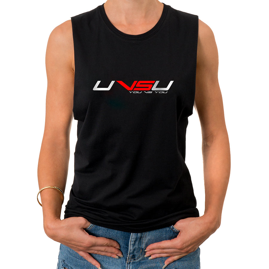 WOMEN'S MUSCLE TEE - BLACK (SILVER & RED)