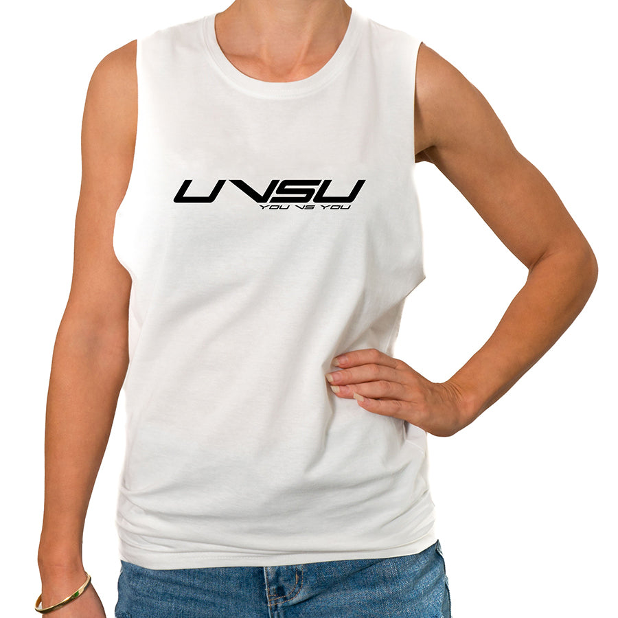 WOMEN'S MUSCLE TEE - WHITE (BLACK) - UVSU (YOU VS YOU)