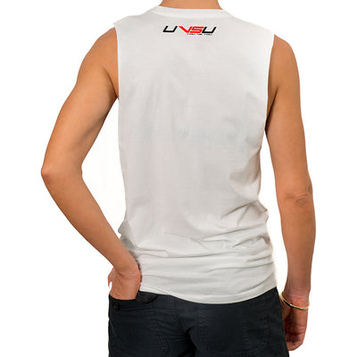 WOMEN'S MUSCLE TEE - WHITE (BLACK & RED) - UVSU (YOU VS YOU)