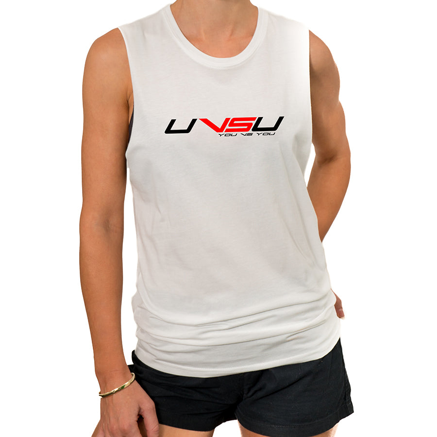 WOMEN'S MUSCLE TEE - WHITE (BLACK & RED)