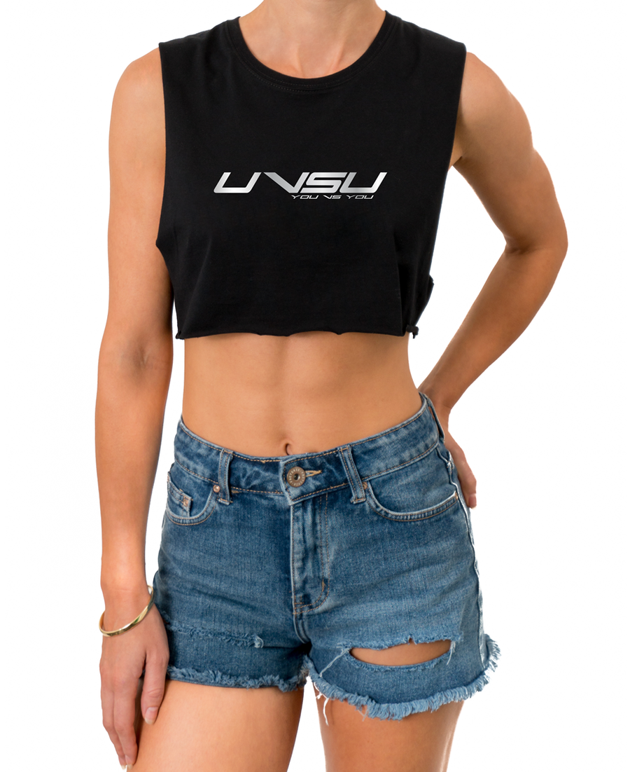 WOMEN'S MUSCLE CROP - BLACK (SILVER) - UVSU (YOU VS YOU)