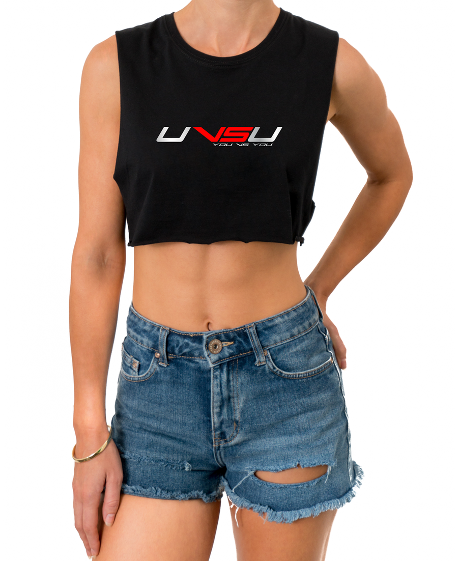 WOMEN'S MUSCLE CROP - BLACK (SILVER & RED) - UVSU (YOU VS YOU)