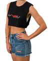 WOMEN'S MUSCLE CROP - BLACK (SILVER & RED)