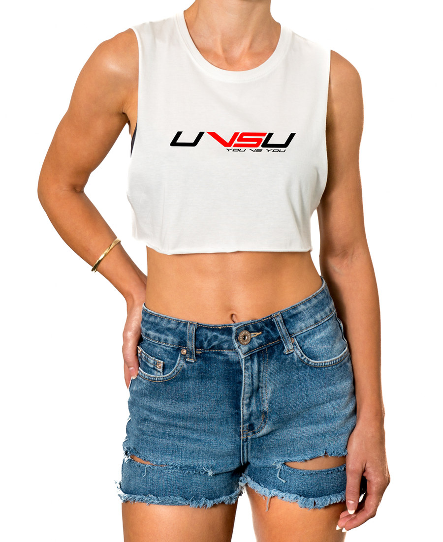 WOMEN'S MUSCLE CROP - WHITE (BLACK & RED)