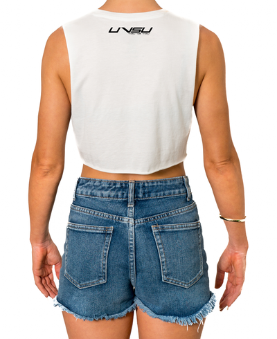 WOMEN'S MUSCLE CROP - WHITE (BLACK) - UVSU (YOU VS YOU)