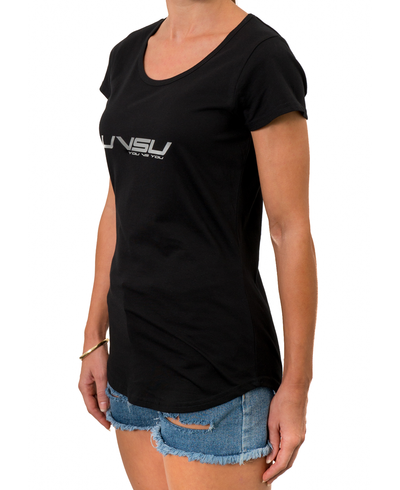 WOMEN'S EVERYDAY TEE - BLACK [SILVER] - UVSU (YOU VS YOU)