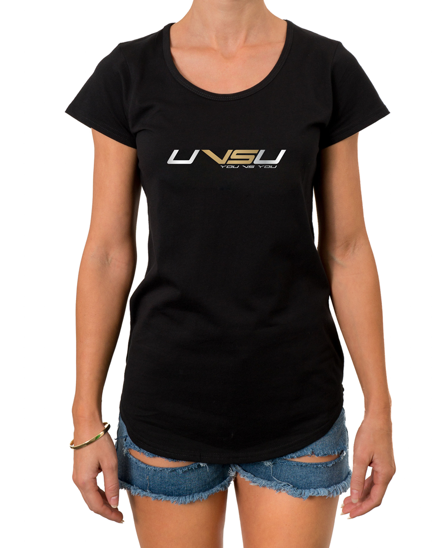 WOMEN'S EVERYDAY TEE - BLACK (SILVER & GOLD) - UVSU (YOU VS YOU)