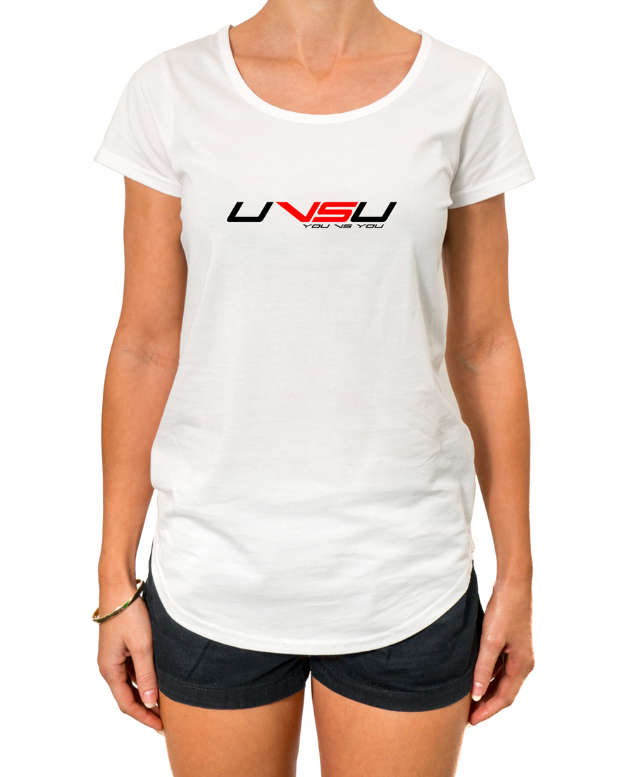 WOMEN'S EVERYDAY TEE - WHITE (BLACK & RED) - UVSU (YOU VS YOU)