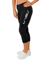 WOMEN'S ACTIVE LEGGINGS 3/4 - BLACK (SILVER) - UVSU (YOU VS YOU)