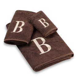 Avanti Brown Ivory Block Monogram 3 Piece Towel Set in Mocha Egyptian Cotton