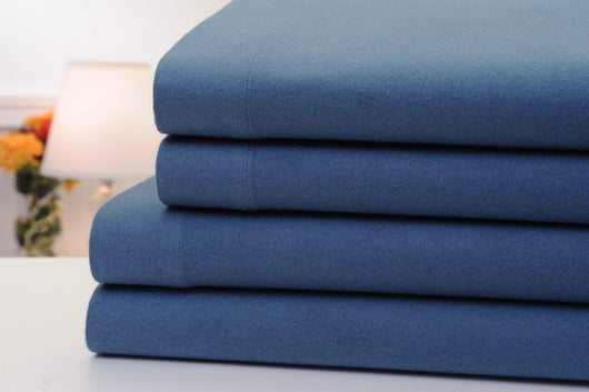 Bibb Home 100% Cotton Solid Flannel Bed Sheets 4 Piece Set With Deep Pockets