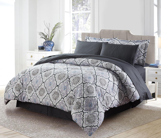 Bibb Home 8 Piece Down Alternative Bed-in-a-Bag Comforter Set