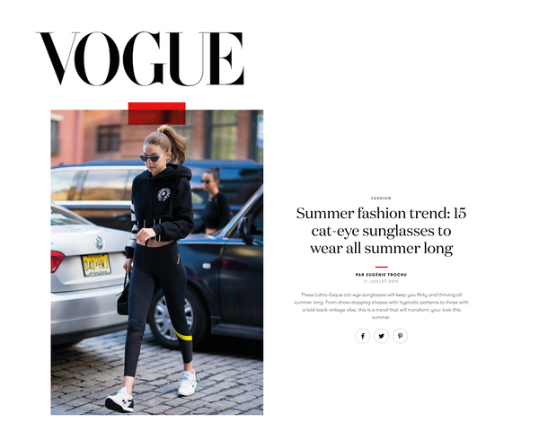 Vogue Paris chooses Little Ripple as one of the cat-eye sunglasses to wear all summer long!