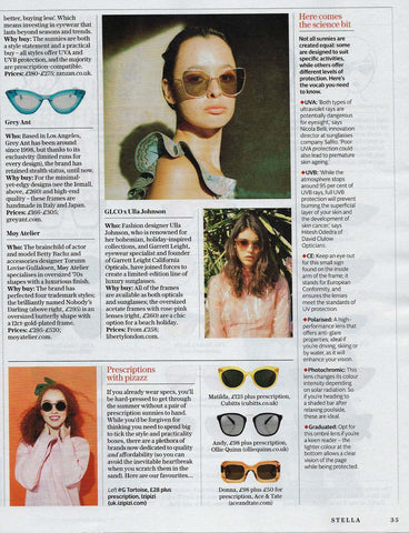 Sunglasses Made in Japan featured in Sunday Telegraph in Stella Magazine