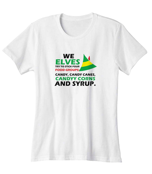 Elves Food Groups Christmas Family Holiday Elf Elves Holiday Elf Woman's T-Shirt