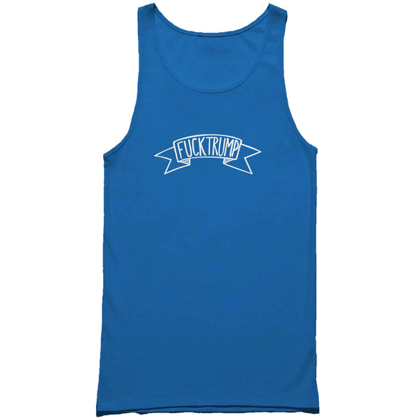 Fuck Trump Banner Isnpired Lettering Man's Tank Top