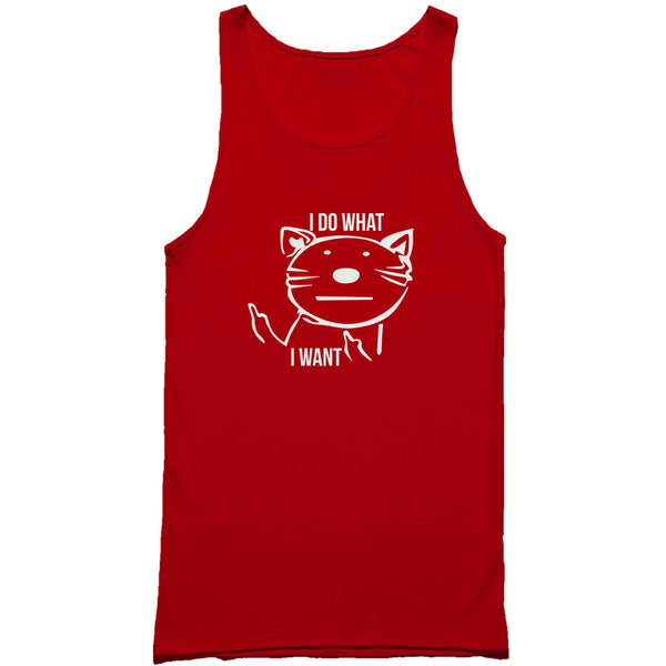I Do What I Want Middle Finger Cat Kitty Crazy Cat Xmas Man's Tank Top
