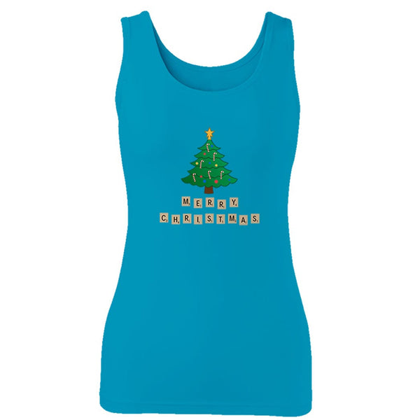 Merry Christmas Scrabble Christmas Funny Family Holiday Word Play Woman's Tank Top